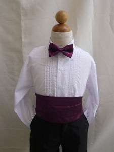 NEW PLUM CUMMERBUND BOW TIE SET FOR BABY TODDLER BOY TUXEDO SUIT