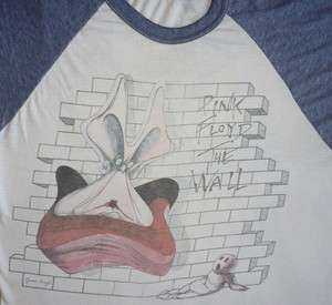 PINK FLOYD Vintage CONCERT SHIRT 80s Tour T 1980 THE WALL Raglan