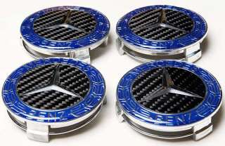 MERCEDES BENZ BLACK REAL CARBON WHEEL CENTER CAPS 4PCS