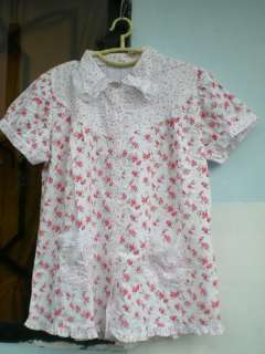 pretty white cotton red and pink rose baby sissy dress l size sweet
