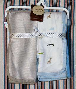 2pc Newborn Baby Boys Safari Blue Brown Swaddling 664454933705