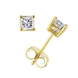 Certified 14k Yellow Gold Princess Cut Diamond Stud Earrings (1 1/2