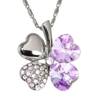 Swarovski Crystal Heart Shaped Four Leaf Clover Pendant Necklace