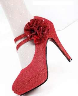 Wedding Party Ankle Lace Flower Belt Platform High Heel Shoes