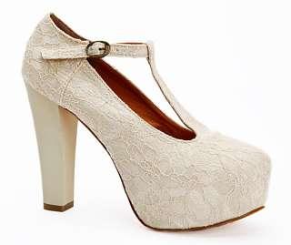 Ivory Lace Covered Wedding Wedge T Strap Platform High Heel Women