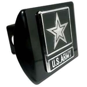 United States Army Star Black with Chrome Emblem Metal Trailer Hitch