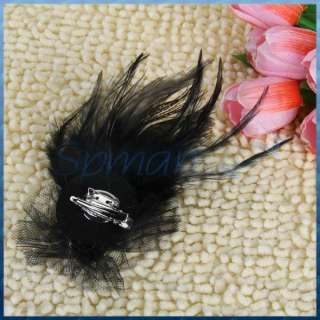 Feather Rhinestone Brooch Pin Hair Clip Black/Silver Jewelry NEW