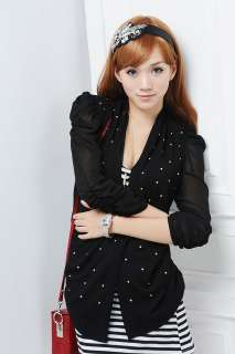 Summer casual womens blazer jacket suit sequin black office lady