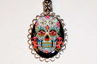 MEXICAN SUGAR SKULL DAY OF THE DEAD Dia de los muertos NECKLACE