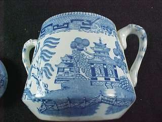 Ridgway Ridgways 1832 Oriental Flow Blue Sugar Bowl