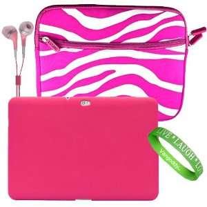 Bargain Bundle Pink and White Zebra Design Neoprene Sleeve for the