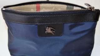 NWT BURBERRY NAVY BLUE PRORSUM LOGO NOVA CHECK COSMETIC MAKEUP BAG