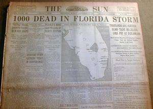 THE GREAT MIAMI HURRICANE Florida disaster headline Many Dead