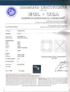 01 Ct Asscher Cut 3 Stone Diamond Engagement Ring EGL