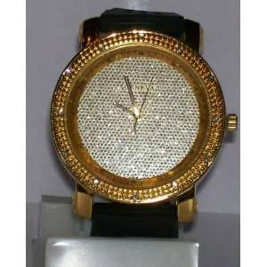 Mens Gold Plated Icey Face Hip Hop Streetwear Watch