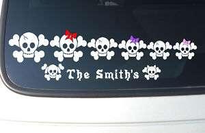 Skull and Cross Bones Family Stick Figure Car Decal