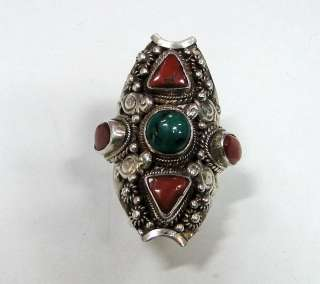 925 STERLING SILVER TURQUOISE CORAL RING NEPALESE