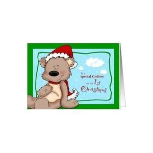Godsons first Christmas   Teddy Bear Card Health
