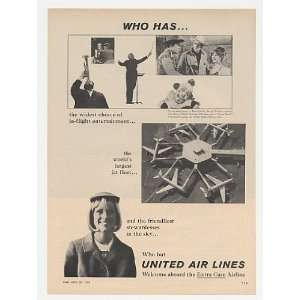 1965 United Airlines Entertain Jet Fleet Stewardess Print