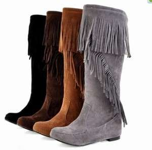 NEW Womens Faux Suede Fringe Flat Mid Calf Boots Shoes Y#10