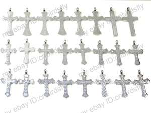 jewelry lots Mixed 10X Stainless steel Men Lady Cross pendants + Chain