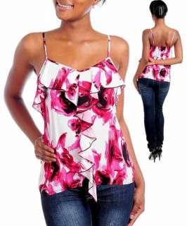 Ruffle Cami Tank Shirt Blouse Top Pink Floral Print S L