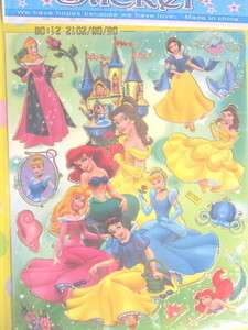 cartoon stickers decal sheet child collect fun F 1227 princess disney