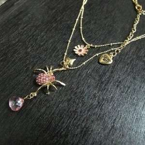 Betsey Johnson Pink Crystal Spider Floret Heart Double
