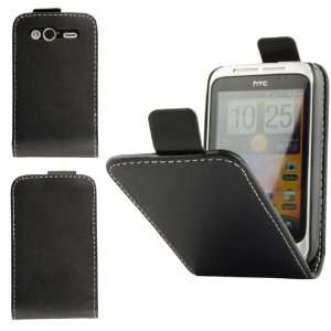 HTC Wildfire S Black Specially Designed Leather Flip Case Electronics
