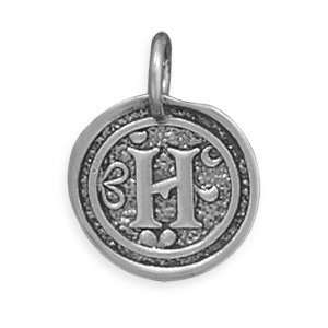Sterling Silver Round Coin Oxidized Initial Monogrammed
