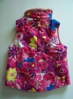 The Childrens Place Girl Pink Funky Floral Fleece Lined Vest Jacket 7