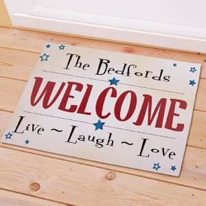 Personalized Live Laugh Love Stars Doormat Patio, Lawn