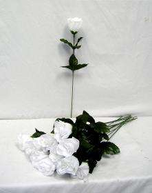 24 WHITE Silk Single Long Stem Rose Buds Wedding Flower