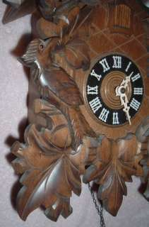 Day Cuckoo Clock Black Forest Germany Working NICE |