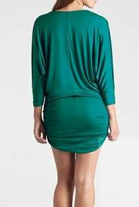 NWT $158 Marciano Hixson drape mini dress in emarald green Sz S