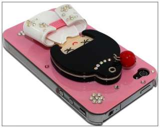 Lovely Japan Girl Bling Rhinestone Hard Case Cover iPhone 4 4S