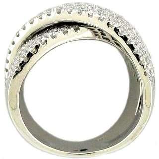4Ctw Right Hand X Design Round Diamond Wide Ring 14k WG