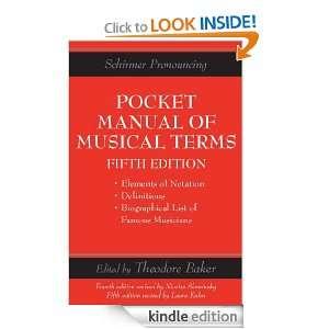 Pocket Manual Of Musical Terms (Schirmers Handy Book) Theodore Baker