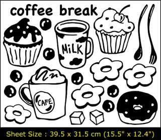 Vinyl Wall/Window Deco Sticker Decal COFFEE BREAK SG 03