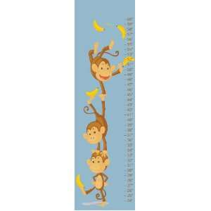 Monkey Baby Blue Canvas Growth Chart Baby
