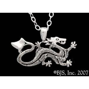 Sterling Silver Ashaman Dragon Necklace TM Ashaman   with 24 rhodium