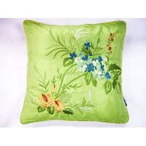SHABBY CHIC GREEN FLORAL EMBROIDERED 18 FILLED CUSHION PILLOW