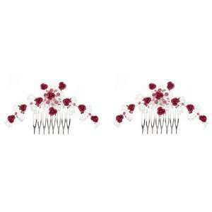Fuchsia and Silvertone Metal Flowers with Crystals Hair Comb Set of 2