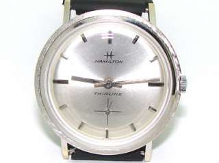 Mens Solid 14kt White Gold Hamilton Manual ThinLine Watch 17Jewel 687
