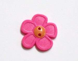 Pink Flower Novelty Buttons Sewing, Crafting, Card Making, Quilting 1