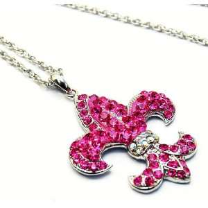 HOT Pink Crystal Fleur De Lis Charm Necklace X Long 30 Rope