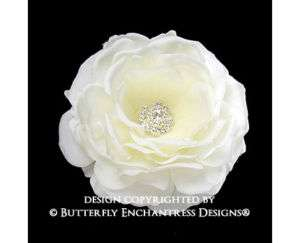 Crystal Creamy Ivory Moroccan Rose Flower Hair Clip