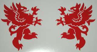 Medieval SCA heraldic rampant red griffin gryphon vinyl decals