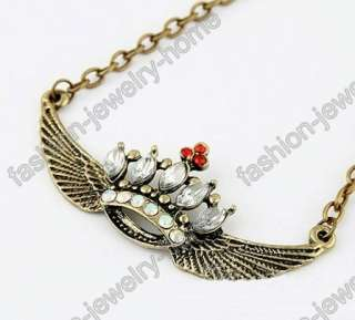 Antique Bronze Crystal Lovely Wing Crown Choker Necklace