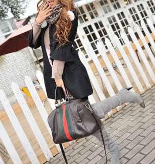 Faux Leather Bag Purse Handbag Satchel Tote Black Brown